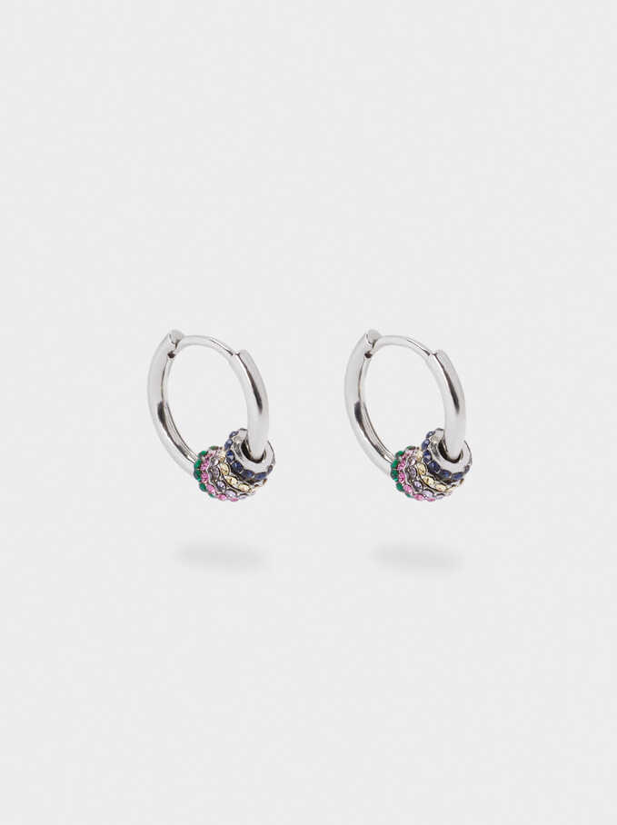Small Hoop Earrings With Crystals, Multicolor, hi-res
