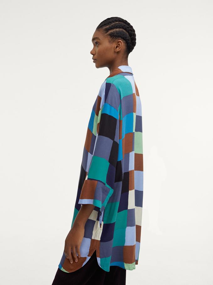 Check Print Shirt Dress, Multicolor, hi-res