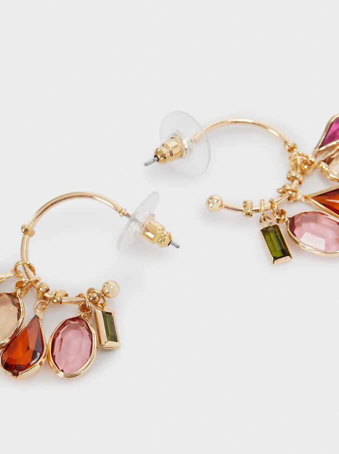 Hoop Earrings With Pendants, Golden, hi-res