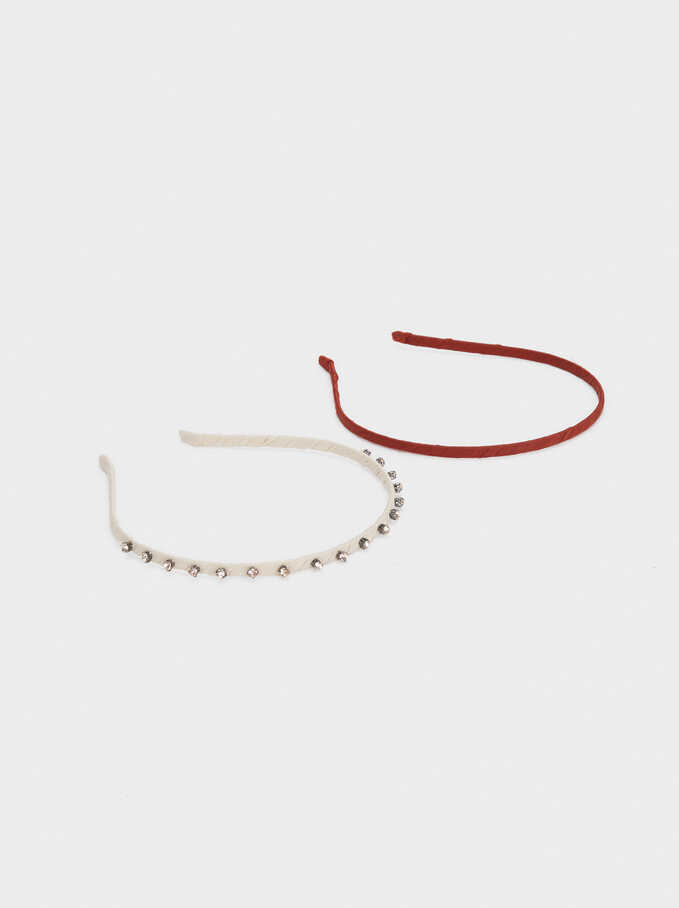 Thin Headband With Beads, Brick Red, hi-res