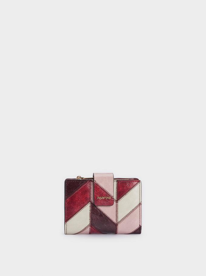 Patchwork Design Compact Wallet, Bordeaux, hi-res