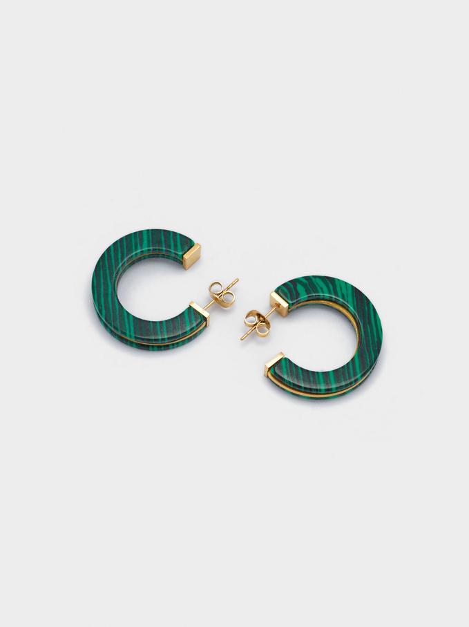 Stainless Steel Hoop Earrings With Stone, Green, hi-res