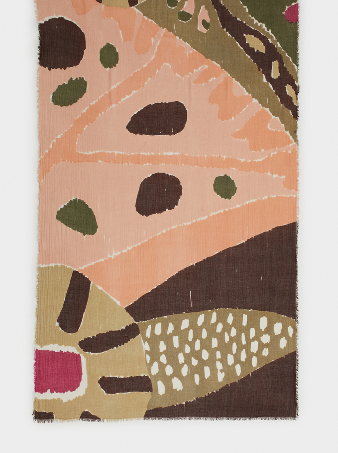 Multicoloured Print Modal Scarf, Pink, hi-res