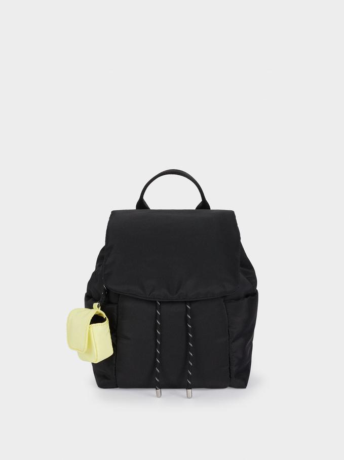 Quilted Nylon Backpack, Black, hi-res