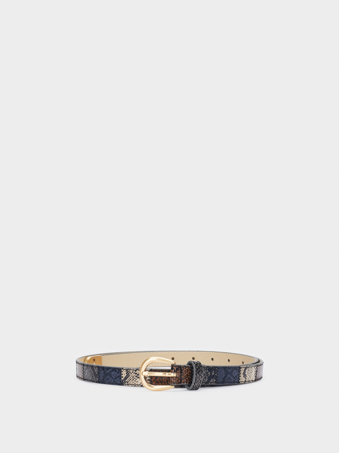 Embossed Snakeskin Print Belt, Multicolor, hi-res