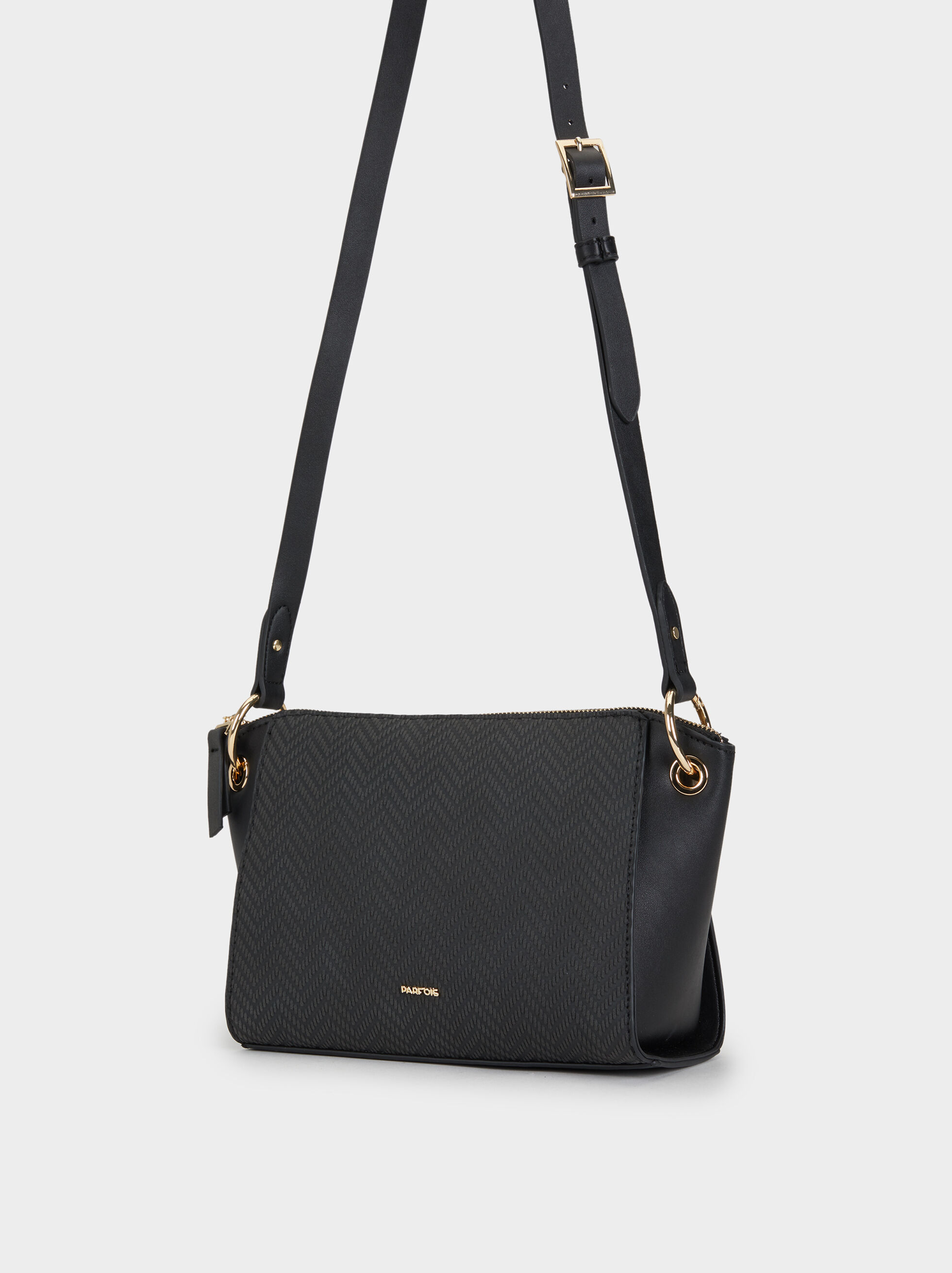 Embossed Crossbody Bag, Black, hi-res