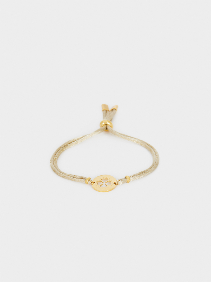 Adjustable Bracelet With Shamrock Detail, Beige, hi-res