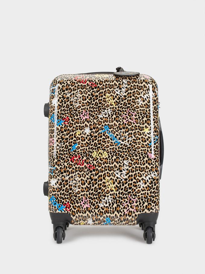 Printed Trolley Suitcase, Black, hi-res