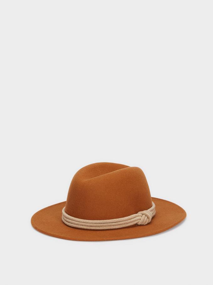 Woollen Hat With Knot Band, Orange, hi-res