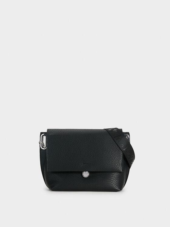 Shoulder Bag With Outer Pockets, Black, hi-res