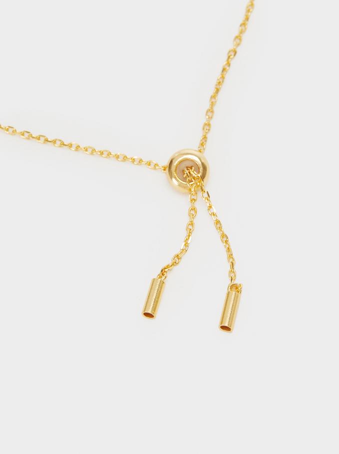 925 Silver Adjustable Heart Bracelet With Zirconia, Golden, hi-res