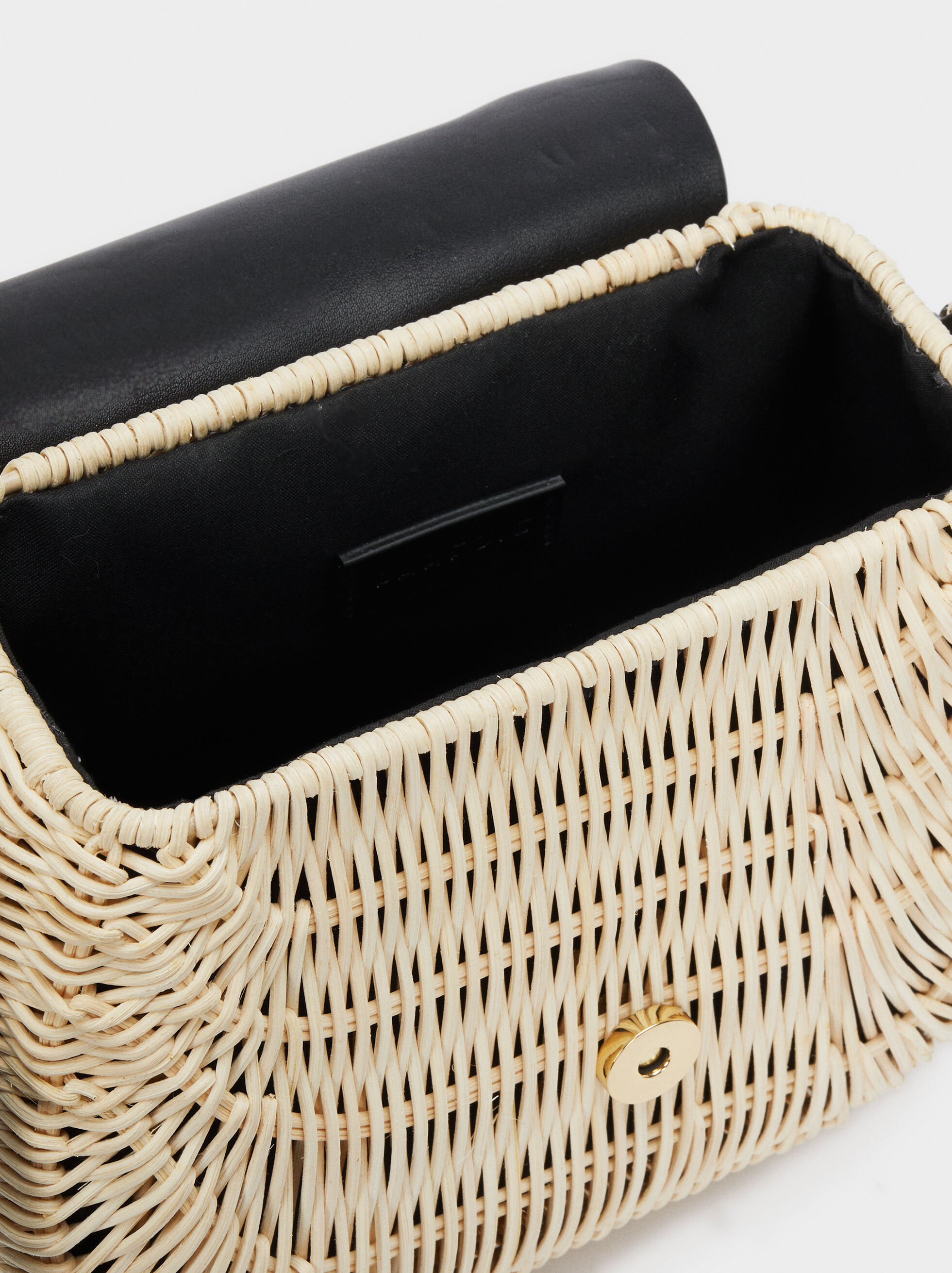 Crossbody Bag With A Textured Raffia Body, Black, hi-res