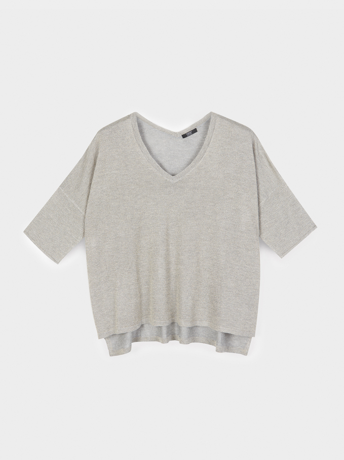 V-Neck Sweater, Silver, hi-res