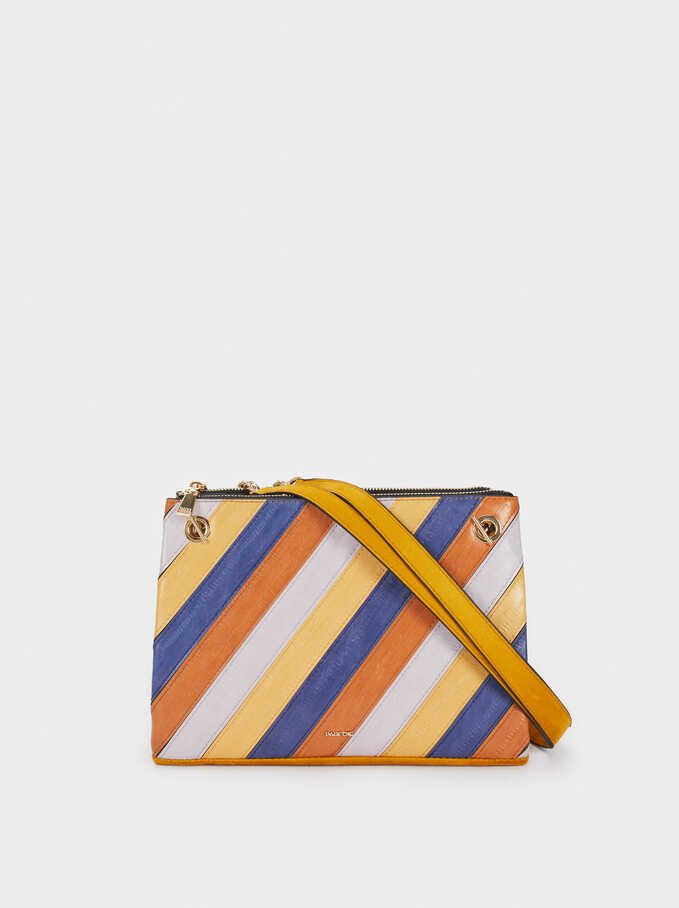 Crossbody Bag With Patchwork Detail, Mustard, hi-res