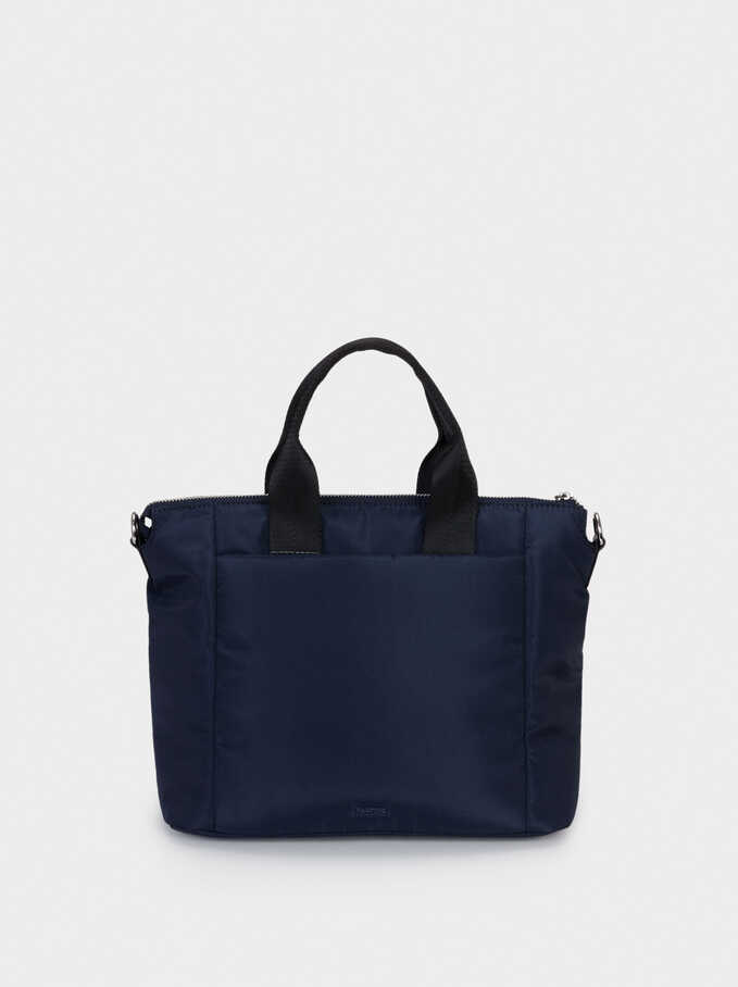 Nylon Tote Bag With Chain Detail, Navy, hi-res