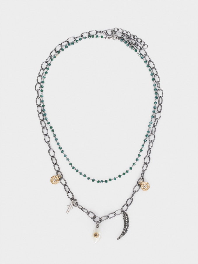 Collier Court Charms Et Strass, Vert, hi-res