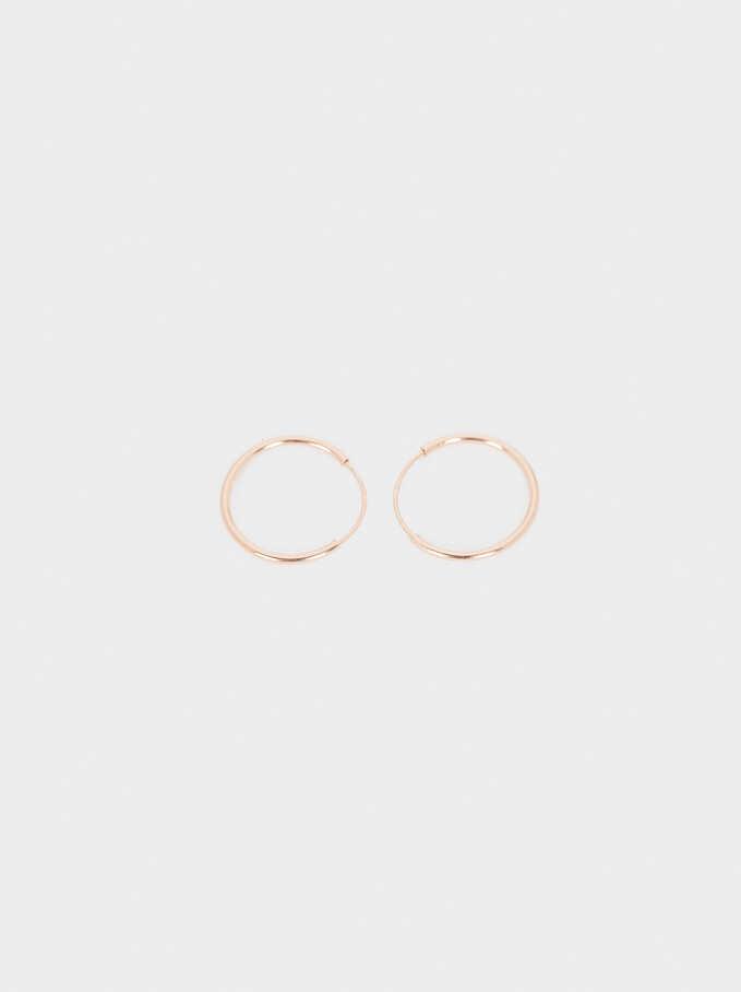 925 Sterling Silver Small Hoop Earrings, Orange, hi-res