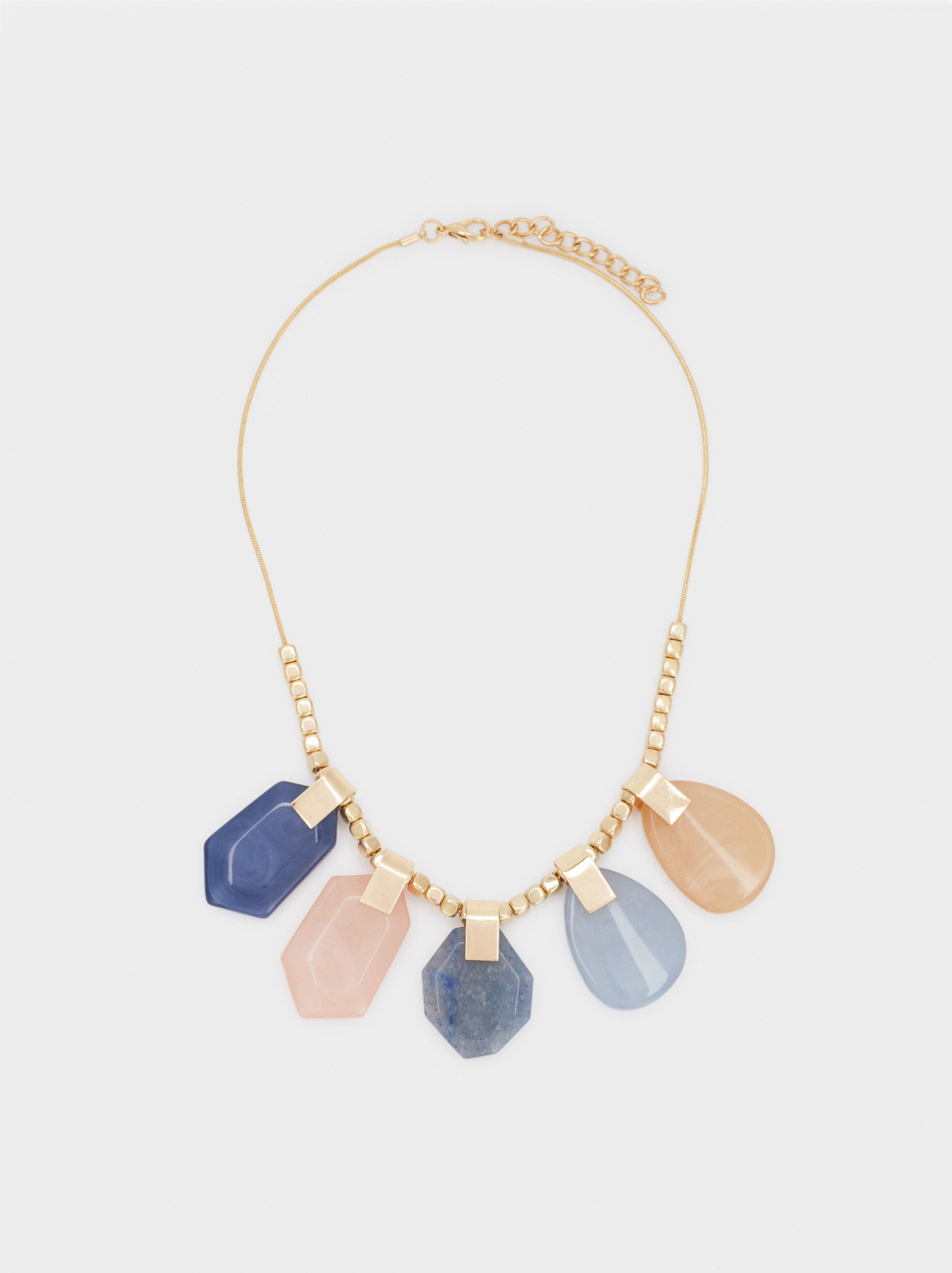 Short Necklace With Multicoloured Stones, Multicolor, hi-res
