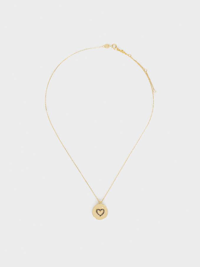 925 Silver Short Heart Necklace, Golden, hi-res