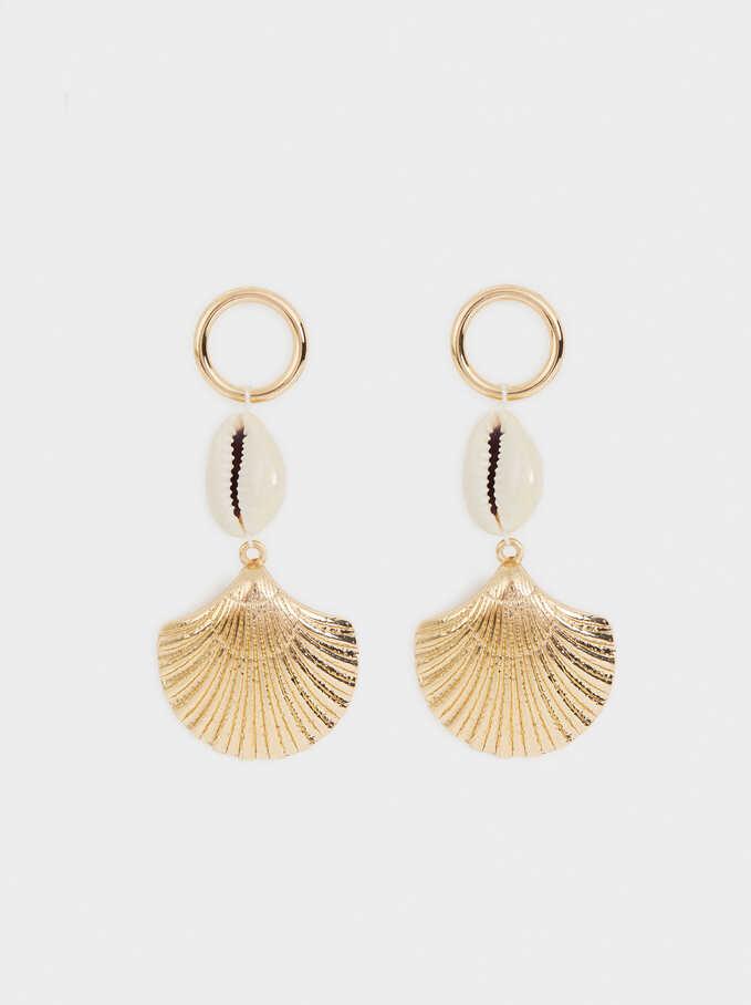 Long Seashell Earrings, Golden, hi-res