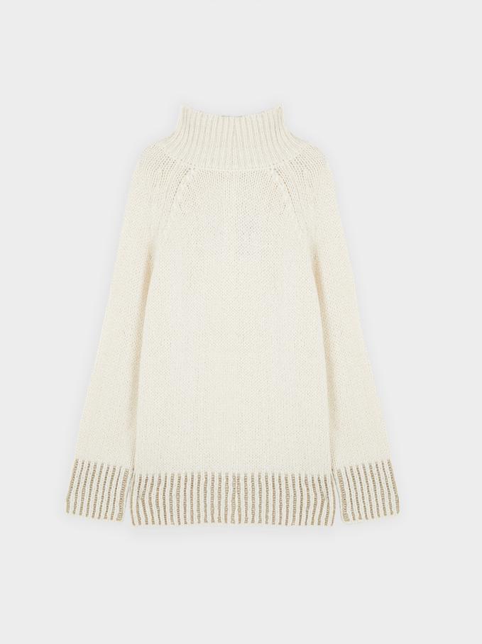 Knitted High Neck Sweater, Ecru, hi-res