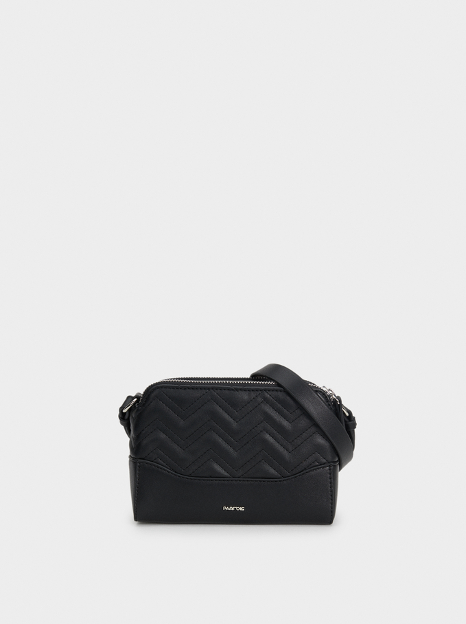 Shoulder Bag With Embossed Zigzag Design, Black, hi-res