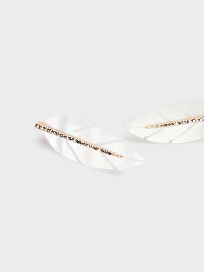 Pendientes Hojas Con Cristales, Dorado, hi-res