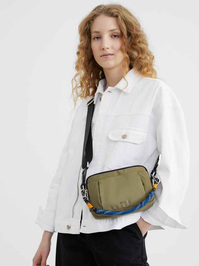 Nylon Crossbody Bag With Cord Handle Detail, Khaki, hi-res