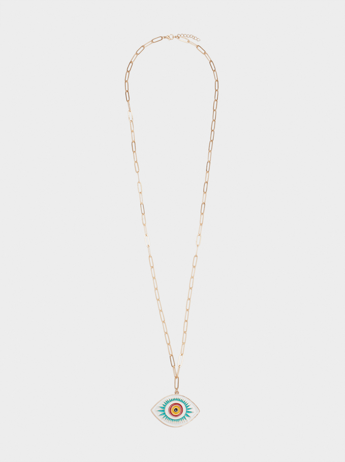 Long Necklace With Multicoloured Eye, Multicolor, hi-res