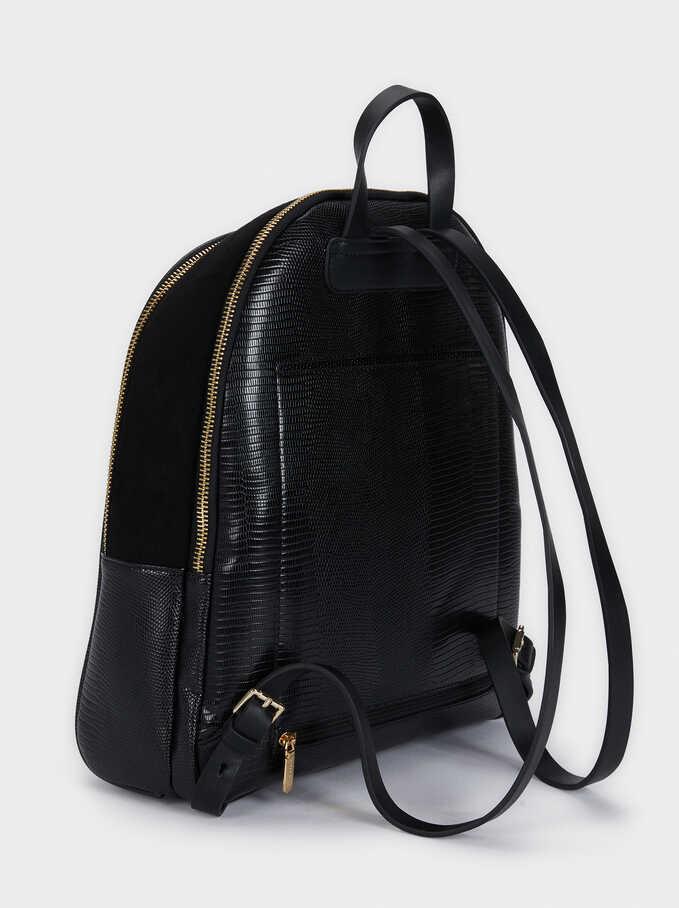 Backpack With Embossed Animal Print And Zip Fastening, Black, hi-res