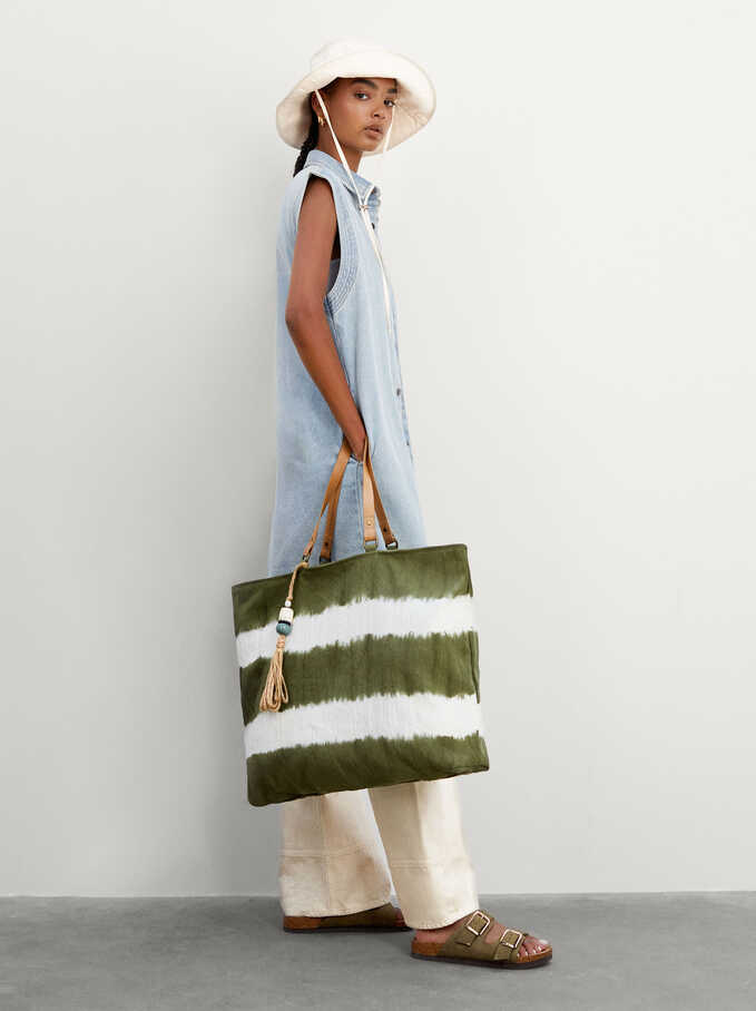 Tie-Dye Shopper Bag With Pendant, Khaki, hi-res