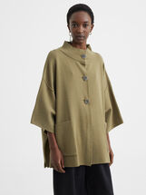 Knit Poncho With Pockets, Khaki, hi-res