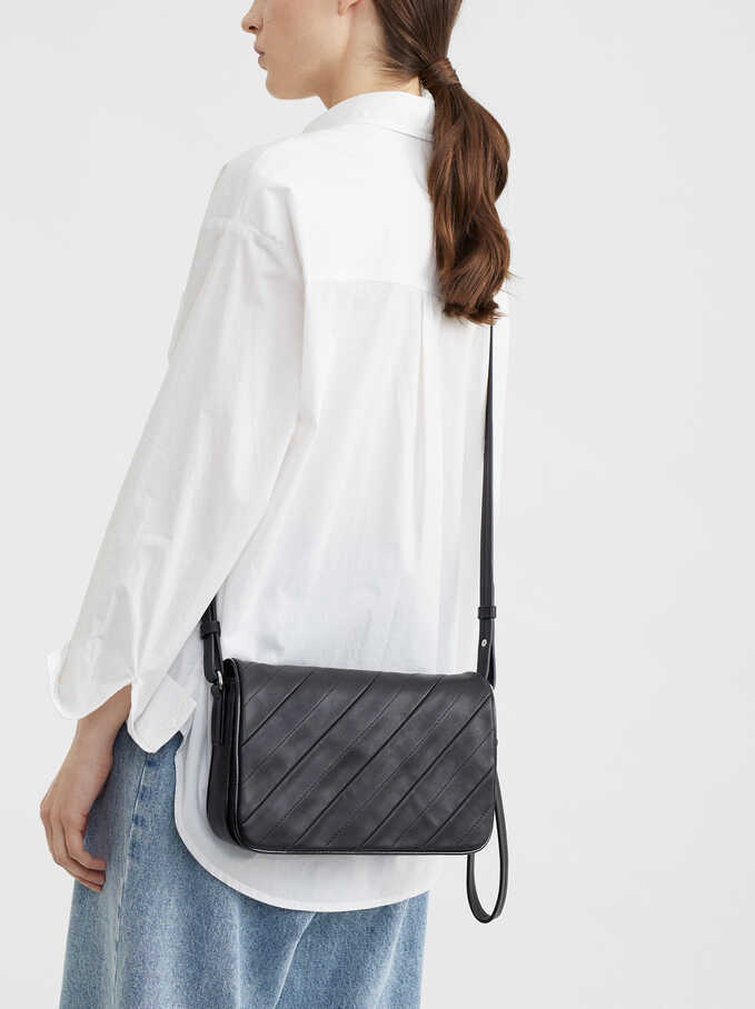 Handbag With Shoulder Strap, Black, hi-res