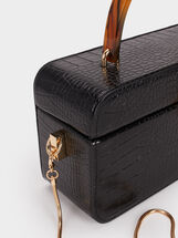 Animal Embossed Party Bag With Tortoiseshell Handle, Black, hi-res