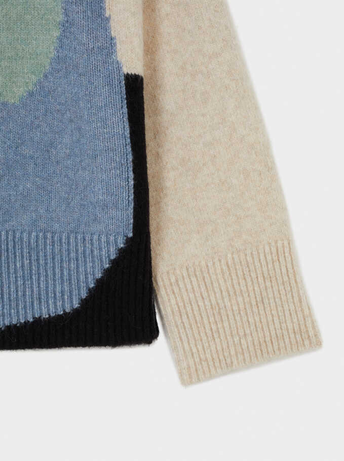 Knit High Neck Sweater With Print, Ecru, hi-res