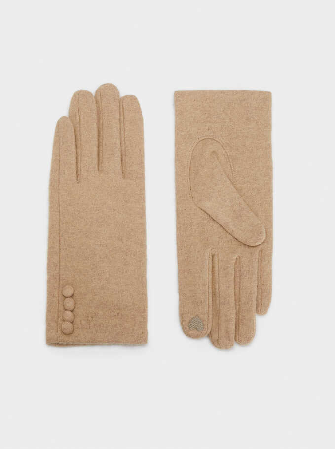 Wool Gloves, Beige, hi-res