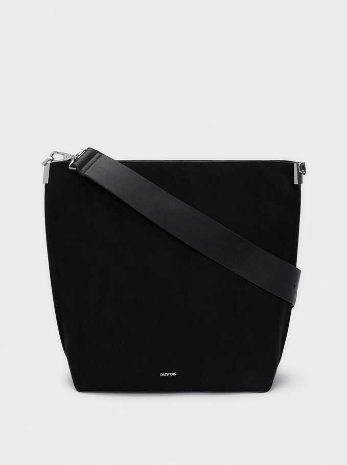 Faux Suede Shoulder Bag With Detachable Handle, Black, hi-res