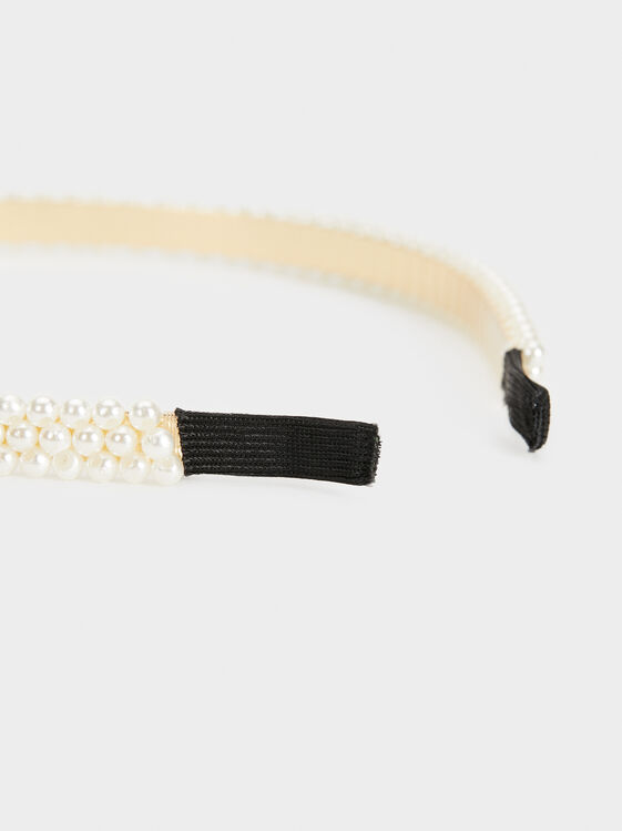 Pearl Bead Headband, White, hi-res