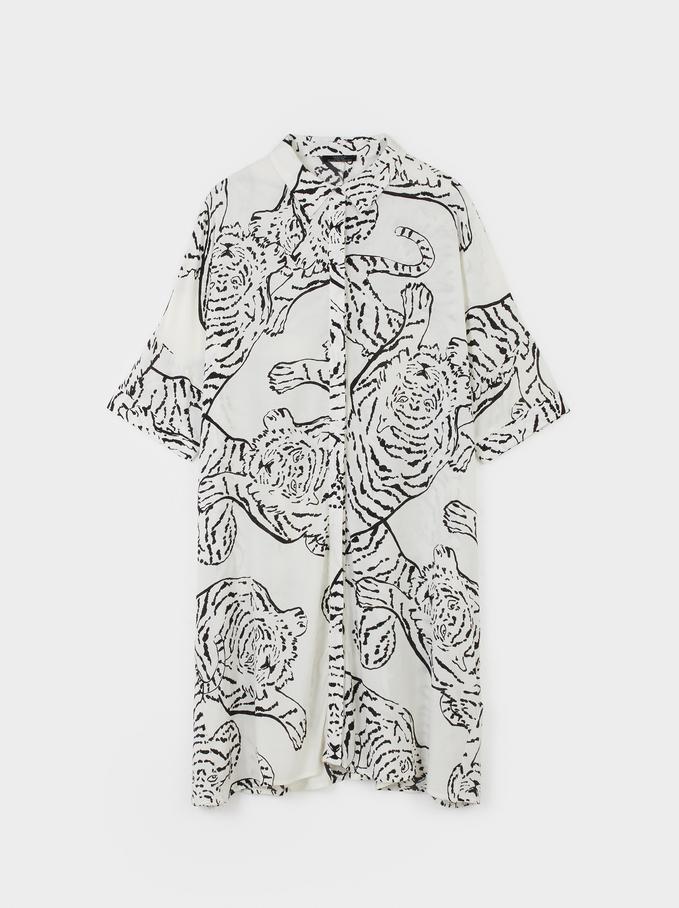 Robe Chemise À Imprimé Animal, Blanc, hi-res