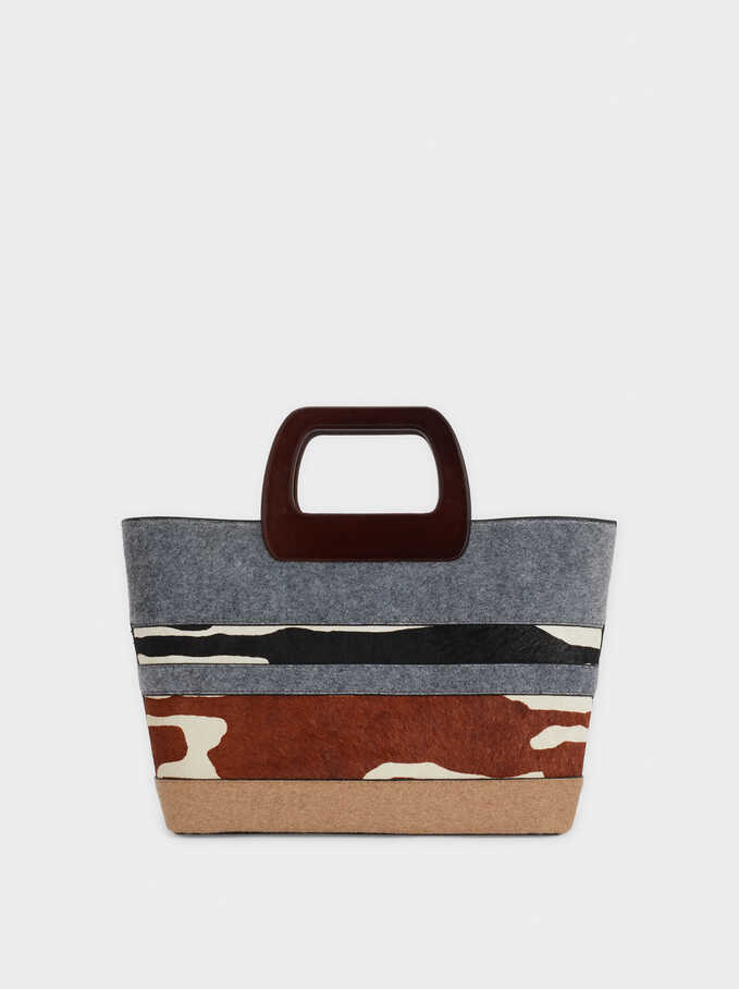 Patchwork Tote Bag, Grey, hi-res