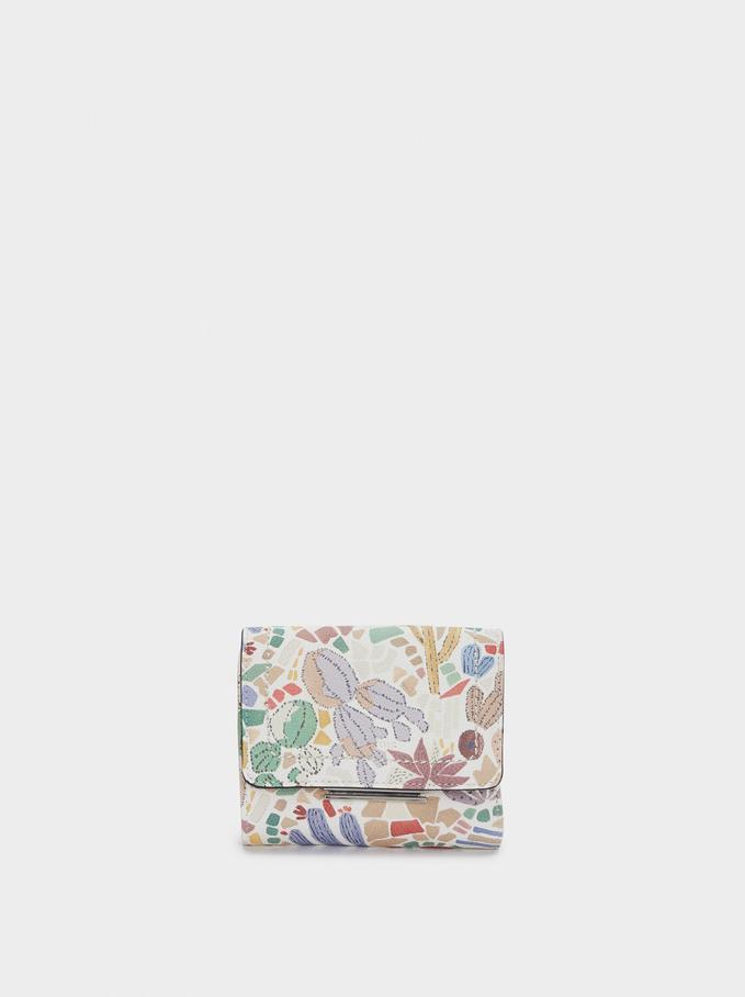 Compact Cactus Print Wallet, Ecru, hi-res