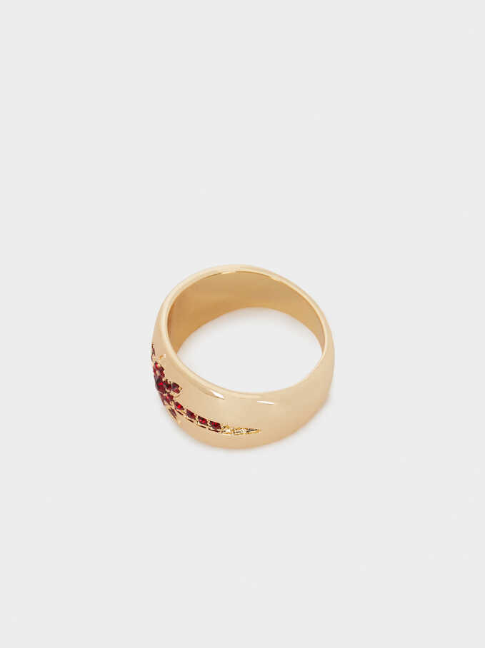 Star Ring With Crystals, Golden, hi-res