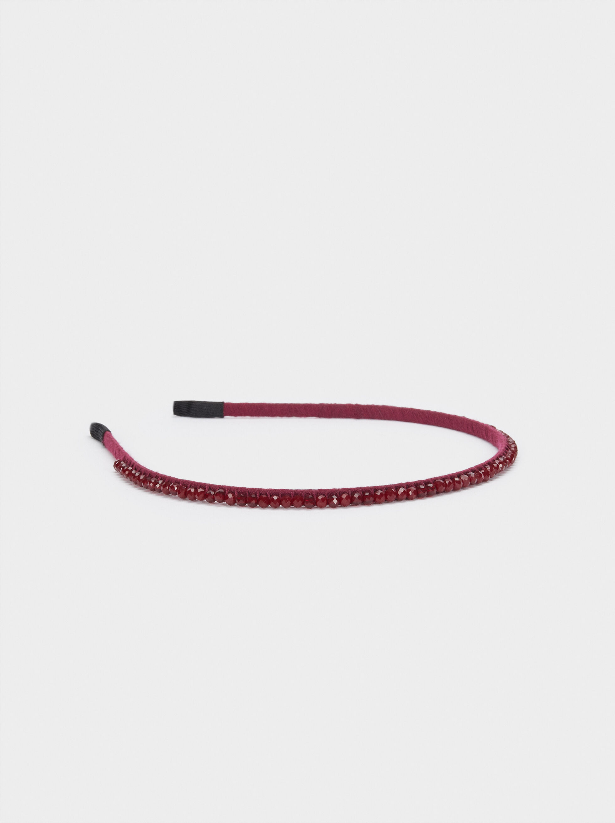 Thin Headband With Beads, Bordeaux, hi-res