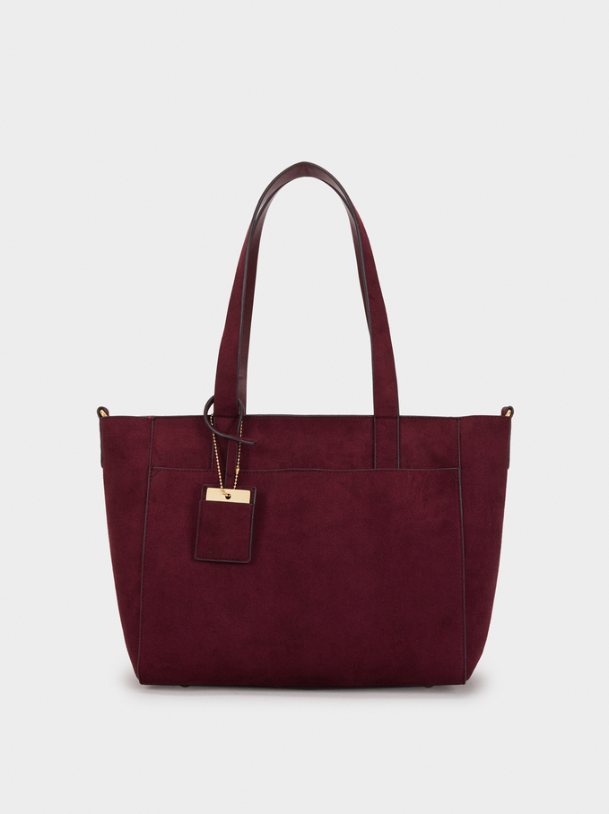 Suede Texture Tote Bag, Bordeaux, hi-res