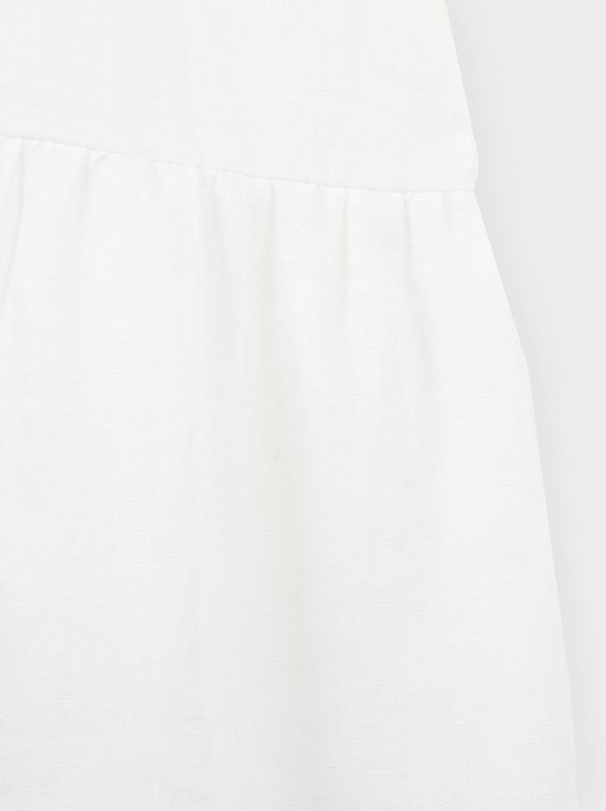 Robe Chemise En Lin, Blanc, hi-res