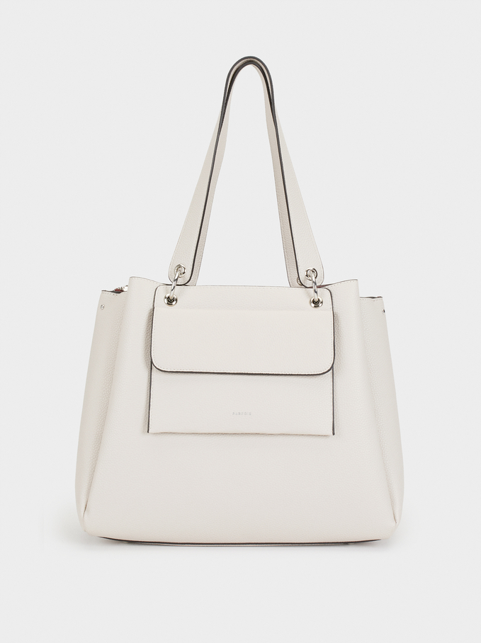 Tote Bag With Removable Outer Pocket, White, hi-res
