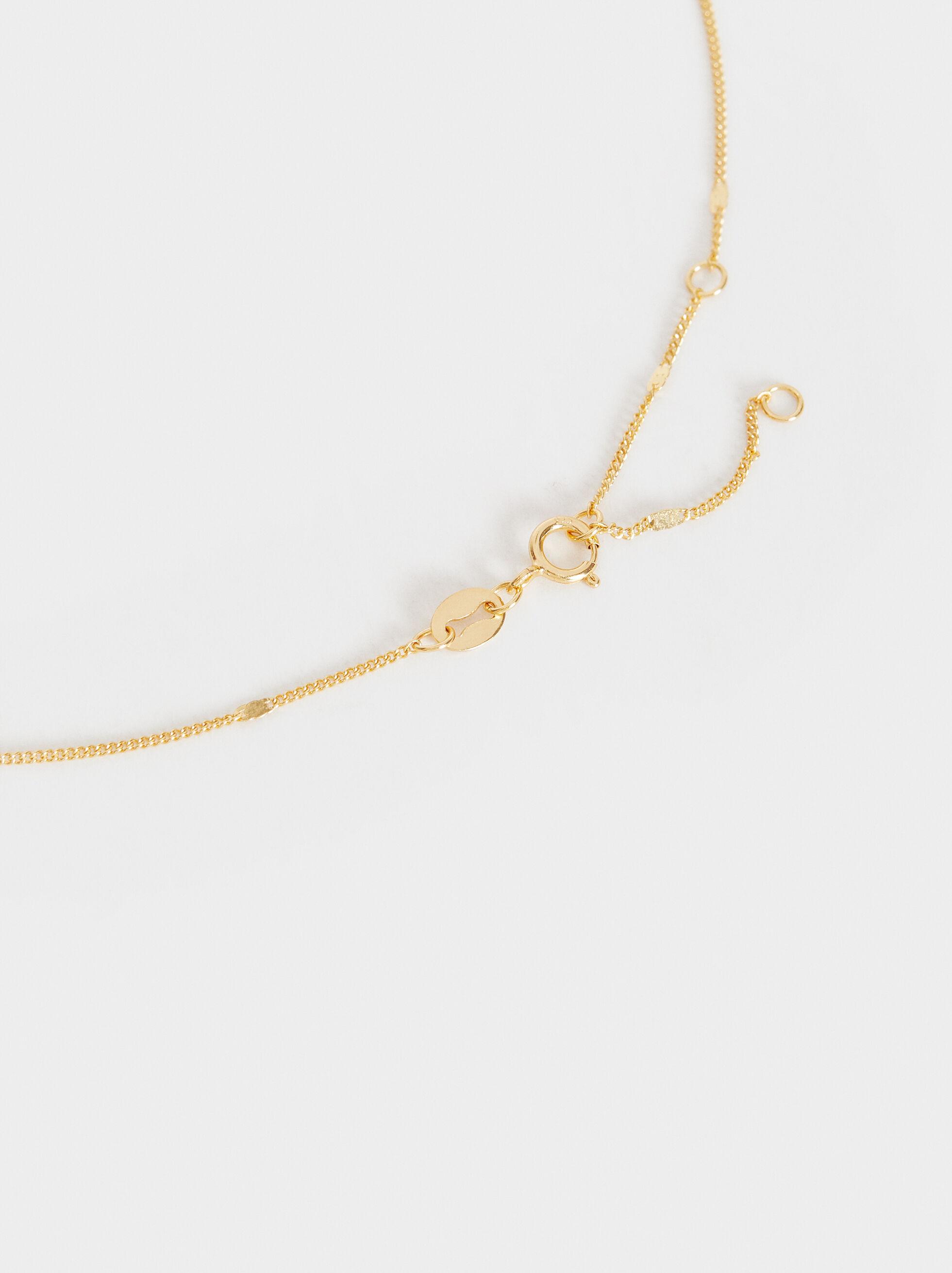 Short 925 Silver Pendant Necklace, Beige, hi-res