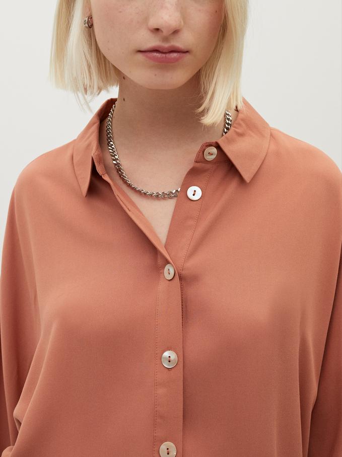 Flowing Long-Sleeved Shirt, Coral, hi-res