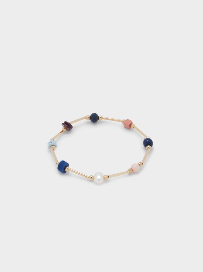 Elasticated Bead Bracelet, Multicolor, hi-res