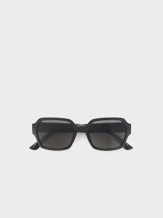 Square Plastic Sunglasses, Black, hi-res